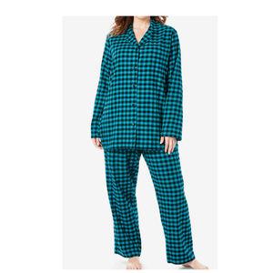 Woman Within 2pc Flannel Pajama Set 5X plaid 88F!